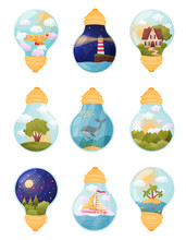 Set Of Images Inside The Bulb. Vector Illustration