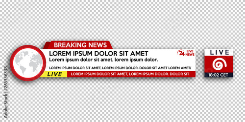 Breaking News template title on transparent background for screen TV