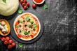 Preparation pizza. Dough with various ingredients for cooking pizza.