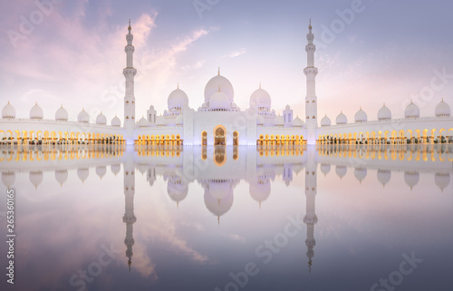 Foto auf Leinwand Abu Dhabi Sheikh Zayed Grand Mosque during sunset, Abu-Dhabi, UAE
