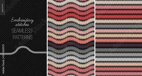 Embroidery satin stitch seamless patterns - two textile patterns of satin stitch Canvas Print