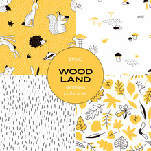 Forest Wildlife Childish Vector Seamless Pattern Set. Hedgehog Squirrel Hare Fox Badger Woody Creatures Repeatable Background. Autumn Forest Leaves Print. Woodland Mushrooms Tileable Backdrop. Simple
