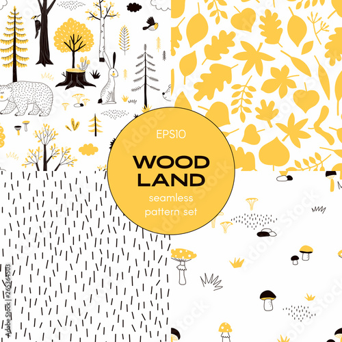 obraz PCV Forest wildlife childish vector seamless pattern set. Woody landscape with Hedgehog Bear Hare creatures repeatable print. Autumn Mushroom harvest background. Woodland tree leaves flat backdrop. Simple