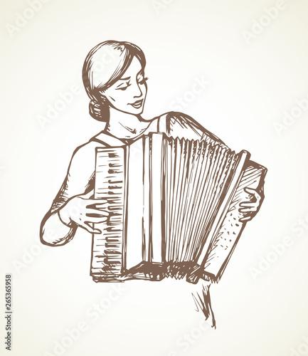 Fényképezés  Lady plays the accordion. Vector drawing