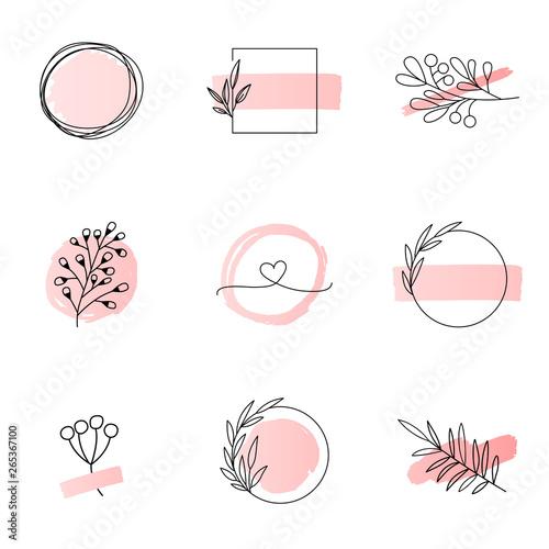 Floral logo templates feminine style Wallpaper Mural