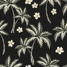 Tropical Palm Trees, White Flowers, Black Background. Vector Seamless Pattern. Vintage Floral Illustration. Exotic Jungle. Summer Beach Design. Paradise Nature