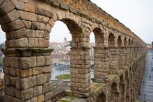 Roman Aqueduct In Segovia Spain
