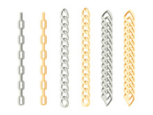 Set Of Chains Of Gold And Silver. Jewelry Isolated On White Background. Vector Illustration Of Design Elements  In Cartoon Simple Flat Style.