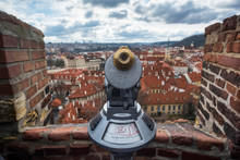 Binoculars With A View From Old Town Hall; Prague, Czechia