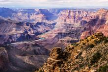 Colorado River Winding Through Grand Canyon National Park; Arizona, United States Of America