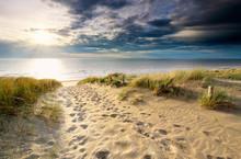 Sand Path To North Sea Beach In Sunshine