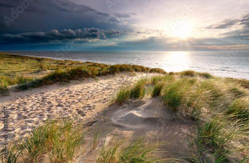 Stampa su Tela sand path on dune to North sea beach