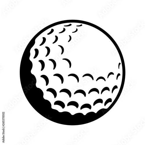 Fotografiet Vector Golf Ball - Black and White Close-up Icon