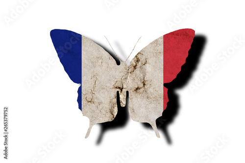 Foto auf AluDibond Schmetterlinge im Grunge Butterfly silhouette in colors of France national flag in grunge style isolated on white background. French flag in the form of a butterfly silhouette with a shadow.