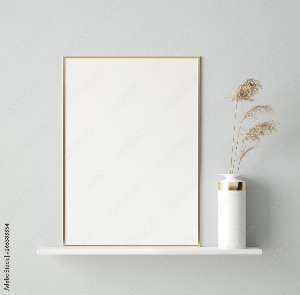 Fototapeta Mock up poster in interior background, Scandinavian style, 3D render
