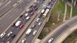 Drone footage of traffic jam on the bridge.