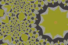 Fraktalillusion Mit Apfelgrünen Sternen Und Herzen Auf Grauem Hintergrund