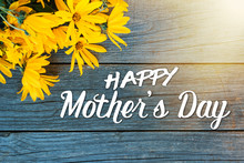 Happy Mother's Day Greeting Card - Bouquet Of  On A Yellow Flowers