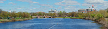 Panoramic View Of Charles River And Red, Green And Blue Domes Of Harvard University Buildings