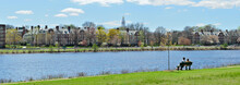 Harvard Business School And Charles River, Panoramic View