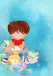 School children. Education concept. Watercolor..