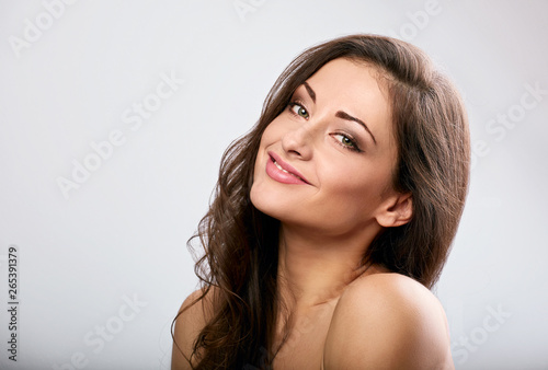 Beautiful natural makeup calm smiling woman with long hair style Canvas Print