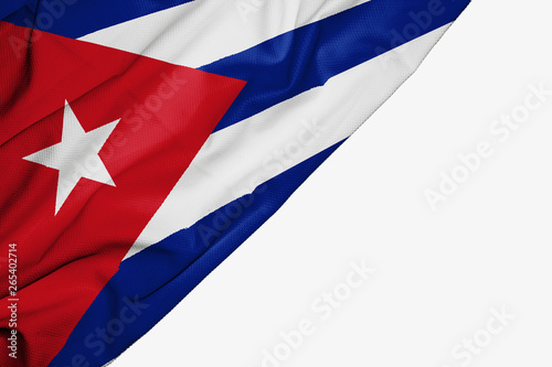 Photo Cuba flag of fabric with copyspace for your text on white background