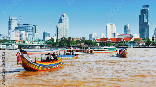 Boat on Chao Phraya river ,Bangkok,Thailand Canvas Print