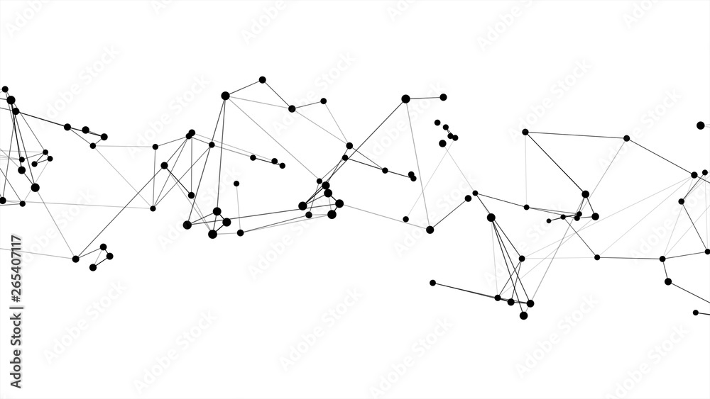 Fototapety, obrazy: Abstract futuristic dot circle and line molecule network structure graphic illustration black color white background. Computer network connection digital technology concept.