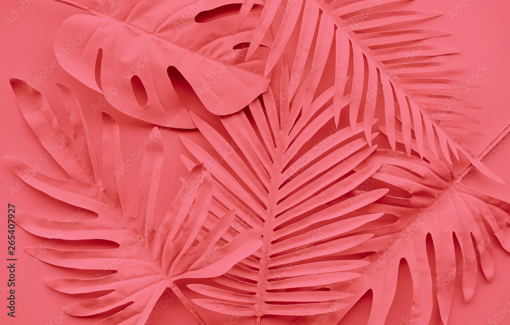 Fototapety, obrazy: Collection of tropical leaves,foliage plant in color of year 2019.Abstract leaf decoration design