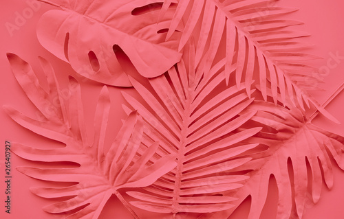 Collection of tropical leaves,foliage plant in color of year 2019.Abstract leaf decoration design