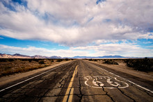 Landscape Of Cracked And Broken Pavement Of Route 66 Lin The Mojave Desert.
