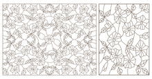 Set Contour Illustrations Of Stained Glass With Abstract Swirls And Flowers , Horizontal Orientation,  Dark Contours On A White Background,dark Contours On A White Background