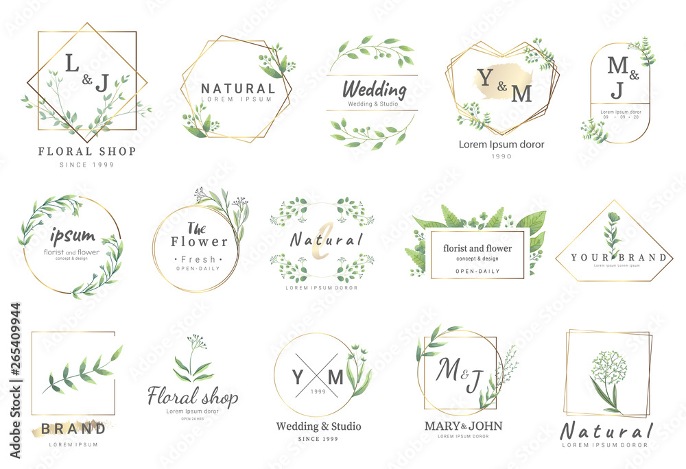 Fototapeta Premium floral logo templates for wedding,logo,banner,badge,printing,product,package.vector illustration