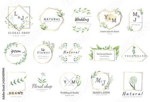 Fotografia  Premium floral logo templates for wedding,logo,banner,badge,printing,product,package
