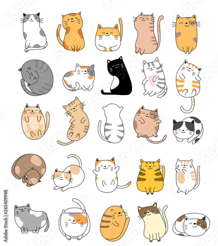 Papel de parede Cute baby cats cartoon hand drawn style,for printing,card, t shirt,banner,product
