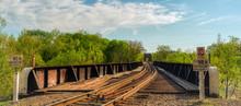 Train Tracks Leading To Bridge In Richmond Virginia