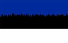 Estonia Flag Made Out Of White Snow, Black Trees And Blue Sky