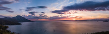 Panorama Aerial Drone Picture Of The Taal Lake In The Philippines During Sunset