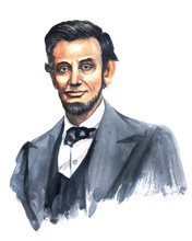 Watercolor Portrait Of Abraham Lincoln, Made In A Limited Range Of Colors