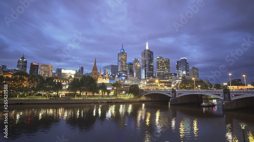 Poster New York night wide angle view of yarra river and city of melbourne