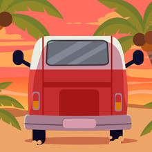Vector Cartoon Car Pack Set.Camper Van. Summer Vacation.retro Car.models Of Cars. Vector Flat Style Illustration . Back View Of Car Set.cute Car Flat Vector Style