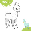 Coloring book page for kids. Cute Lama baby. Sketch outline and color version. Childrens education.