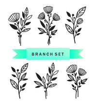 Set Of Branches With Flowers And Leaves. Patterns For Decoration. Elements For Cutting Paper, Plotter Or Laser Cutting.