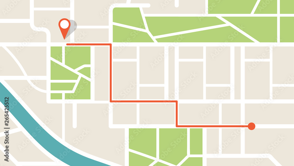 Fototapeta City map navigation. GPS navigator. Point marker icon. Top view, view from above. Abstract background. Cute simple design. Flat style vector illustration.