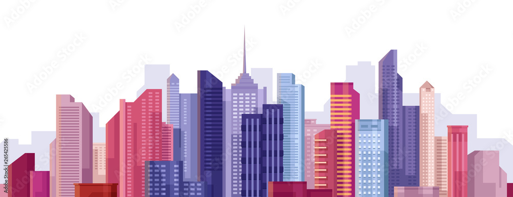 Fototapety, obrazy: Cityscape. City landscape. Buildings panorama. Simple modern cartoon design. Realistic silhouette. Urban view with skyscrapers. Beautiful colorful template. Flat style vector illustration.