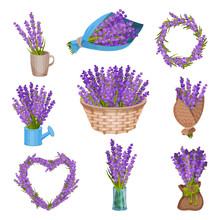 Set Of Bouquets Of Flowers. Vector Illustration.