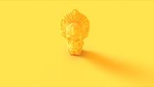 Yellow Tribal Skull Mask Statue Bust 3d Illustration