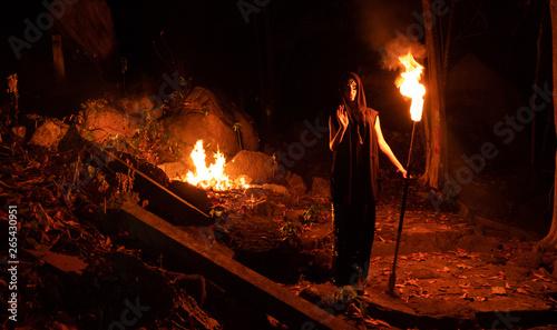 Cuadros en Lienzo Woman  walking by the dark forest with burning staff