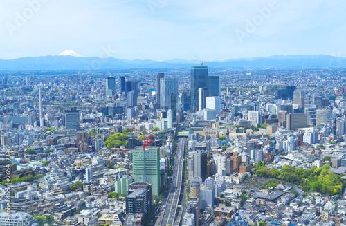 富士山と渋谷 東京風景 2019 春 新緑 青空